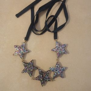 Multi Color Glitter Stars Tie On Necklace